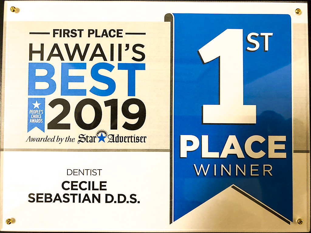 Honolulu Star Advertiser First Place Dentist